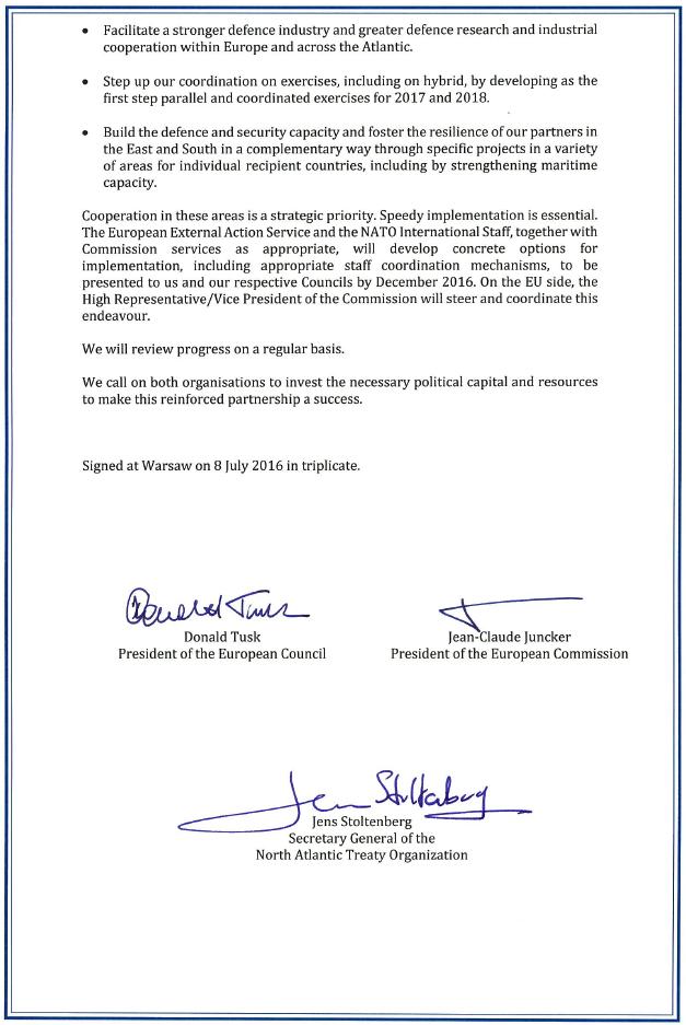 NATO declaration Warschau 2